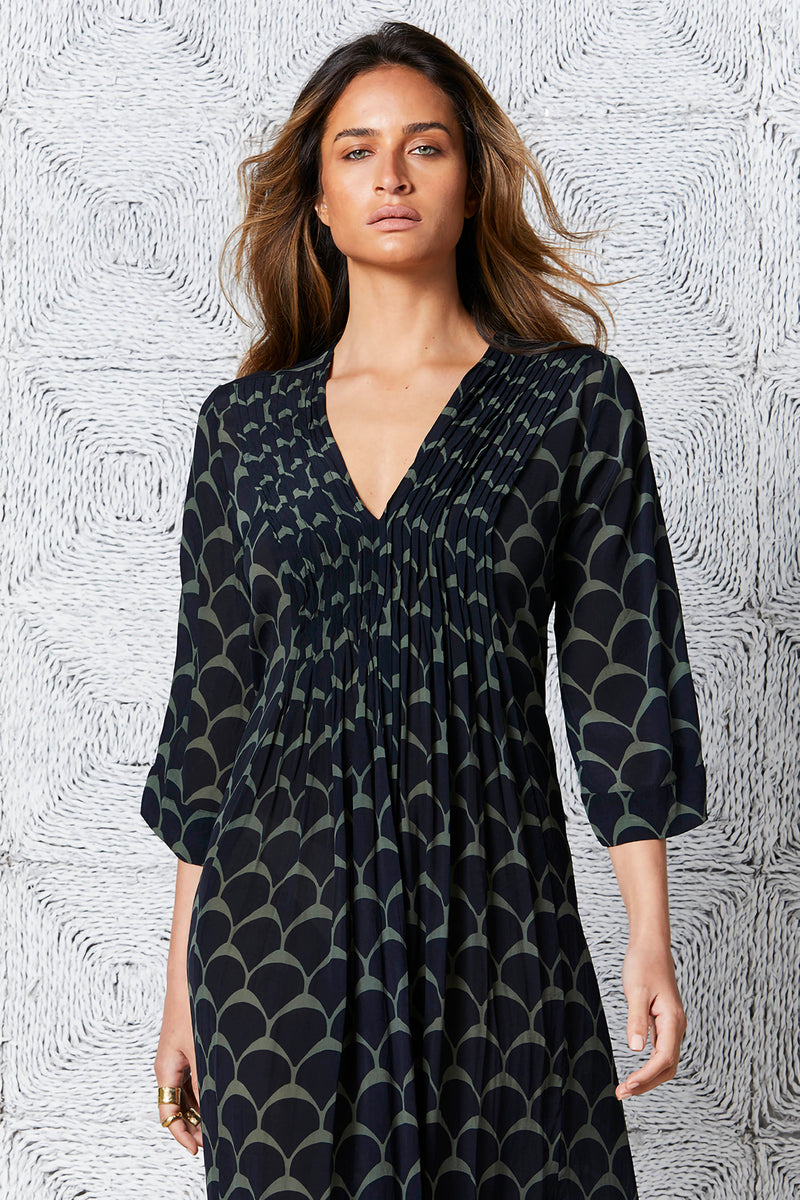 Oneseason Mia Dress Hvar Print Khaki