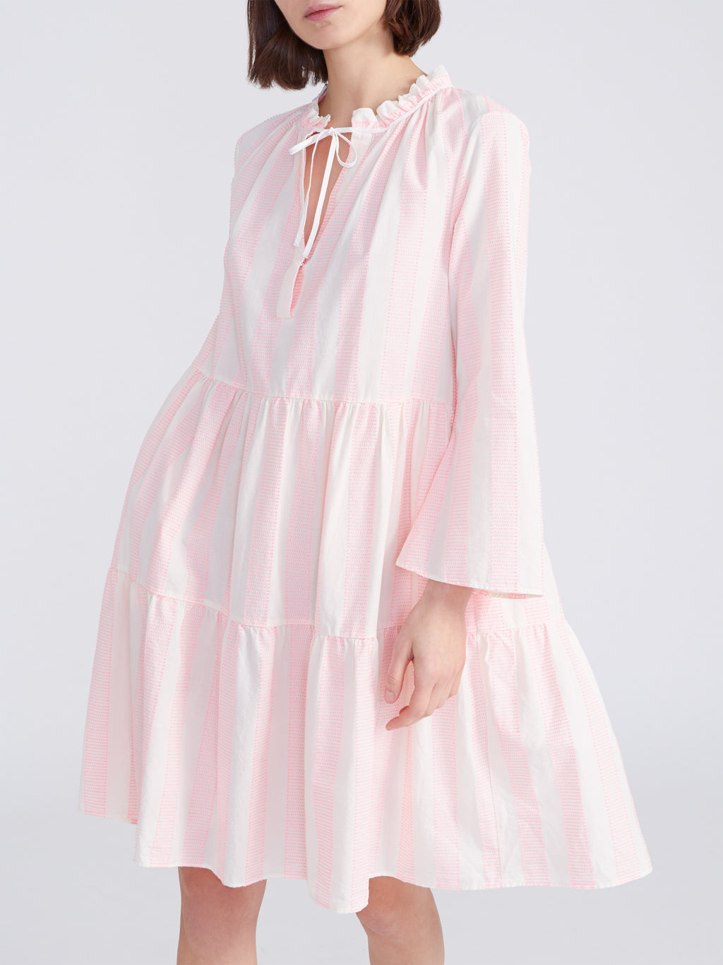 0039 Italy MILLY 3/4 Sleeve Tiered Dress White & Pink