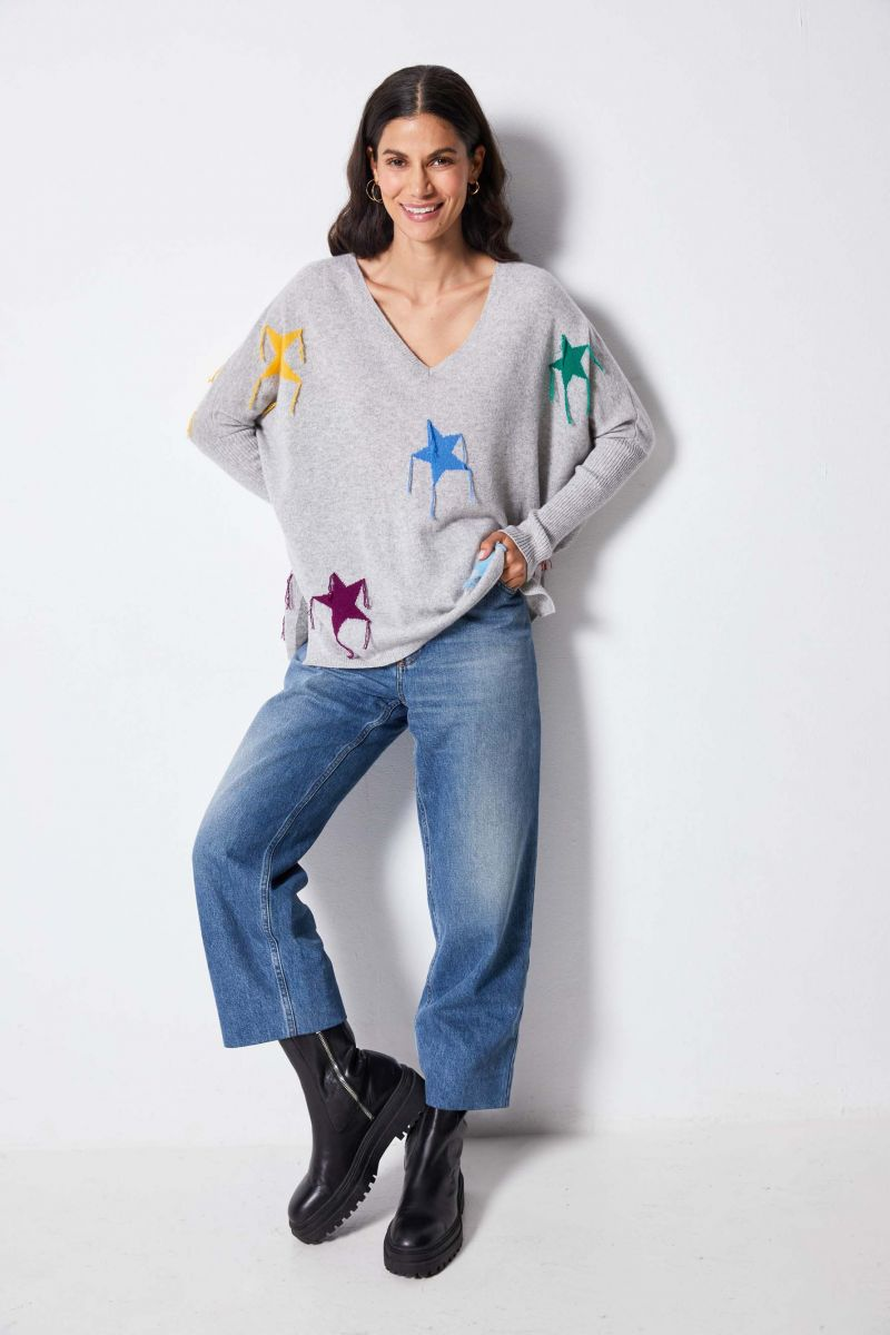 Not Shy V Neck Cashmere Star Poncho Sweater Light Grey ESTRELLA