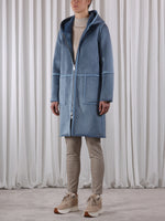 Rino & Pelle OVA Hooded Reversible Faux Suede Coat Mirage Blue