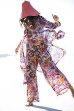 Oneseason Palazzo Trousers Puerto Rico Print Lilac