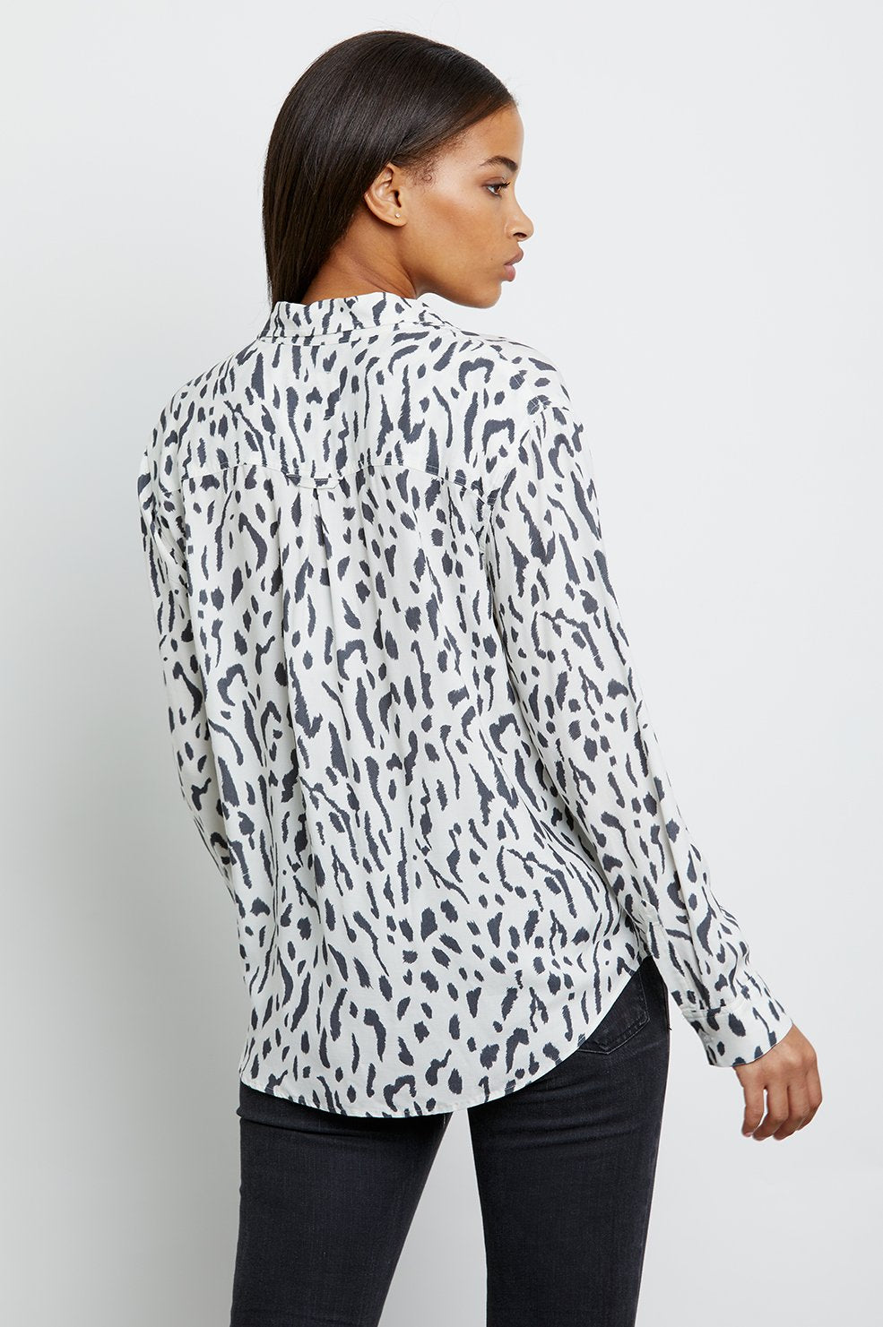Rails ROCSI Cheetah Print Pocket Shirt Ivory Cheetah