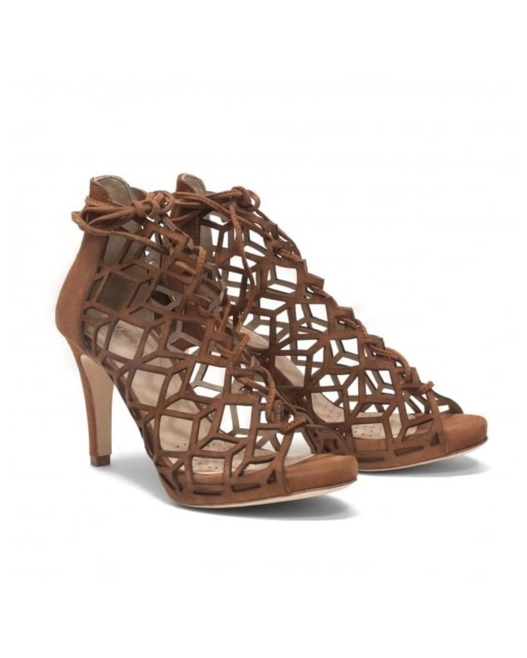 Sargossa Shoes FAIRYTALE Gladiator High Heel Suede Tan Brown