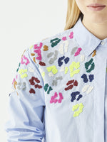 Vilagallo SONIA Shirt with Leopard Embroidery Light Blue