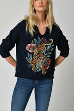 Five Jeans Floral Tiger Sweater Navy