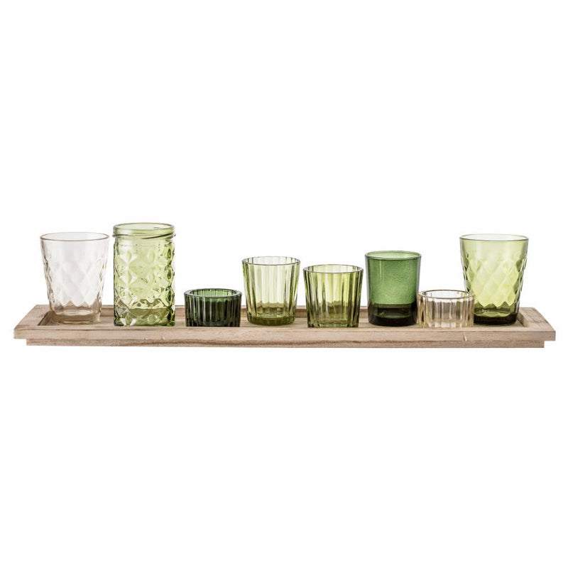 Bloomingville Green Glass Votive Set