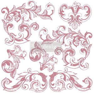 Redesign Decor Clear Cling stamp Elegant Scrolls