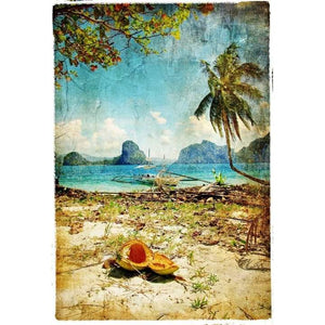 Mint Decoupage paper Tropical Beach