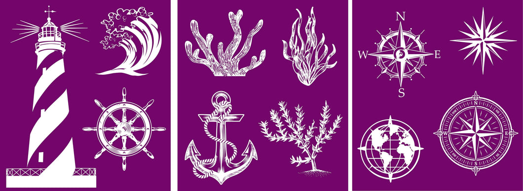 Belle's and Whistles Silk screen stencils Nautical