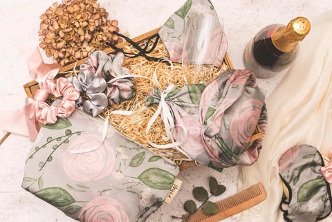 Floral pink, grey wedding accessories. Face mask, Eye mask, headband and hair scrunchie