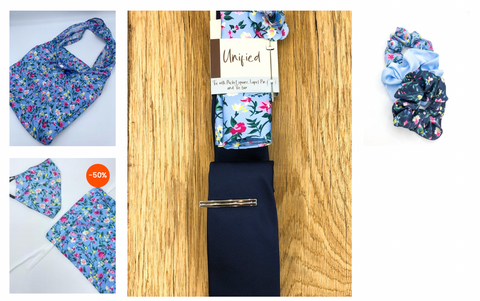 Klein collection wedding accessories. Blue floral wedding tie, Scrunchie, headband and face covering