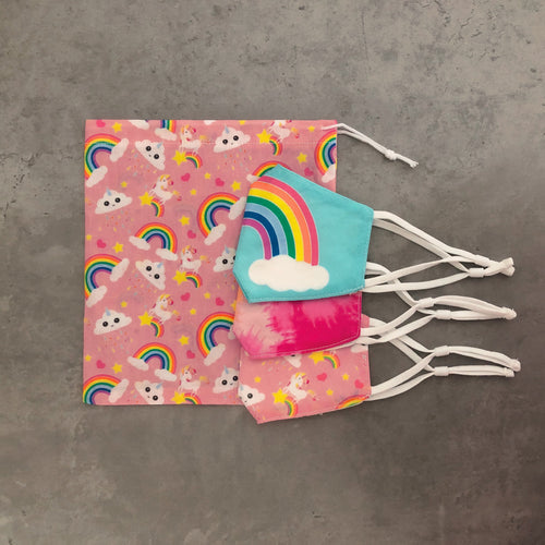 Girls rainbow and unicorn face covering and face mask