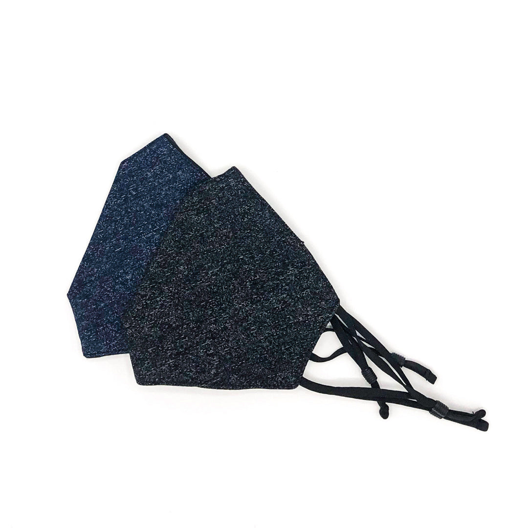 Black marl face mask - Navy mark face covering