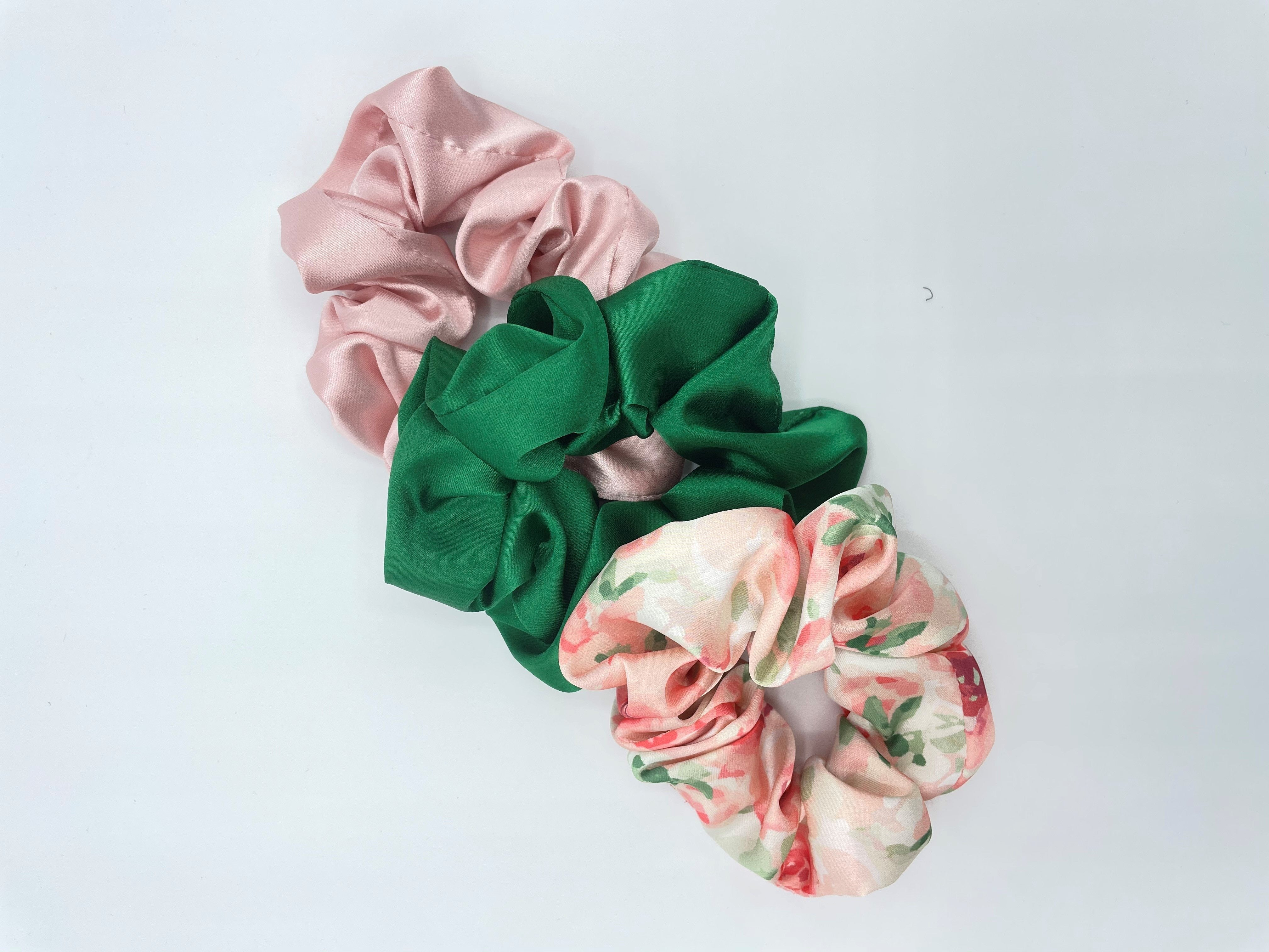 Set of three pink floral and green hair scrunchies