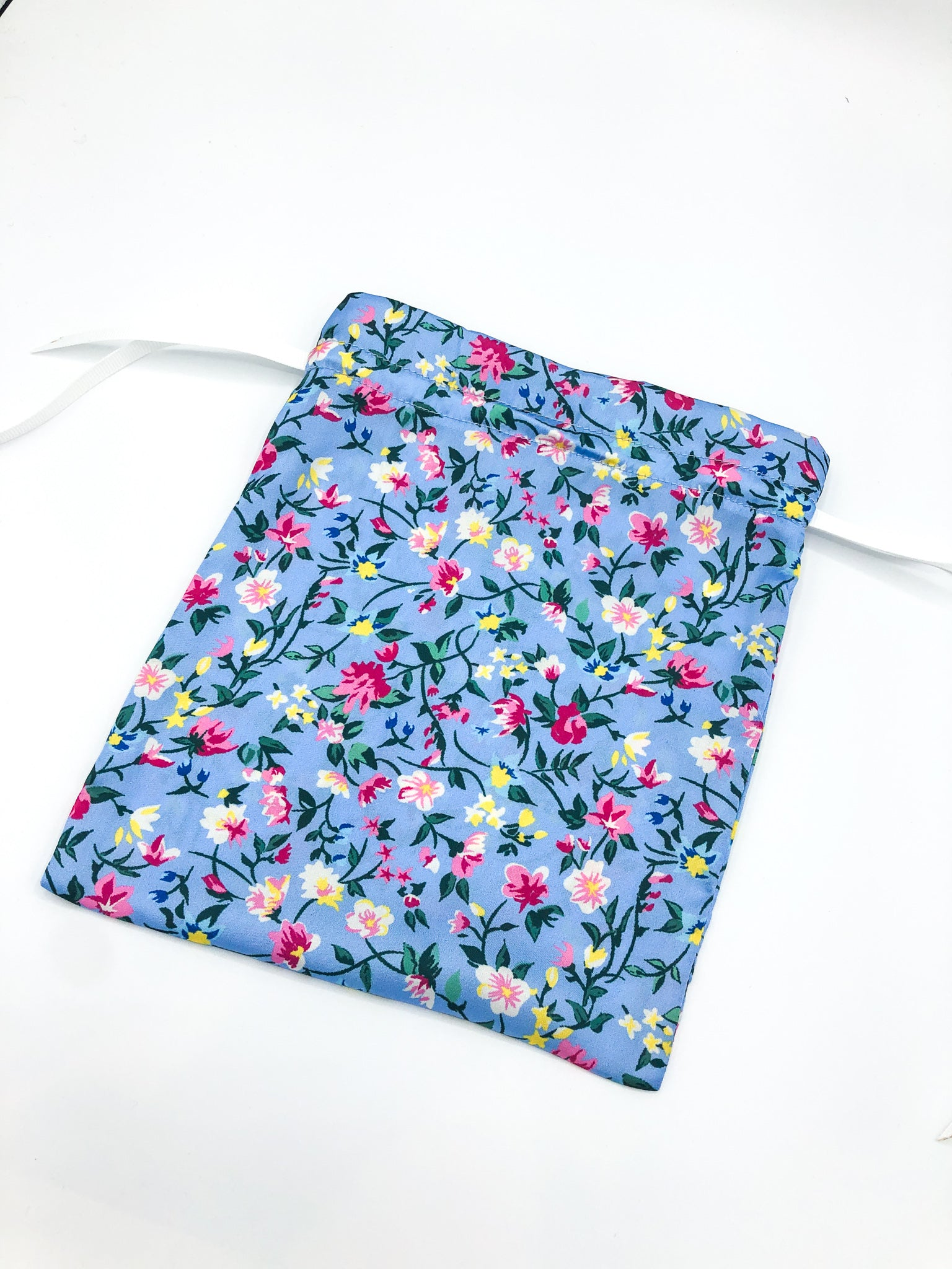 Klein Blue Floral Face Covering and Matching Bag