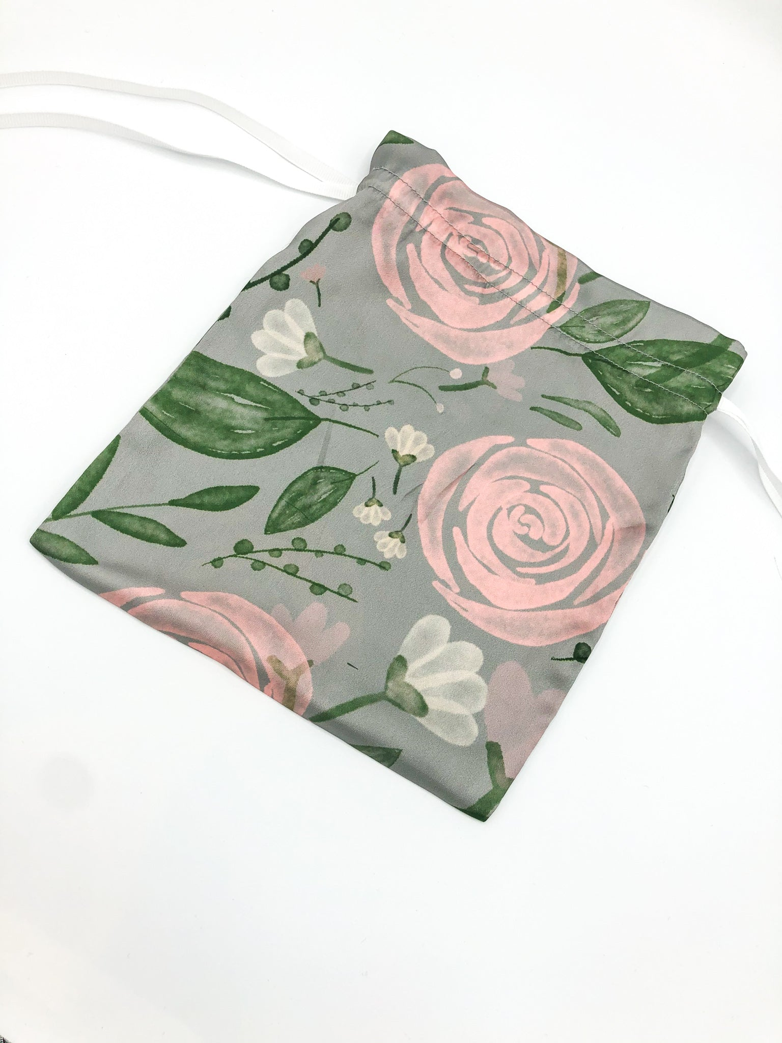 Wilde Grey Floral Face Covering and Fabric Bag