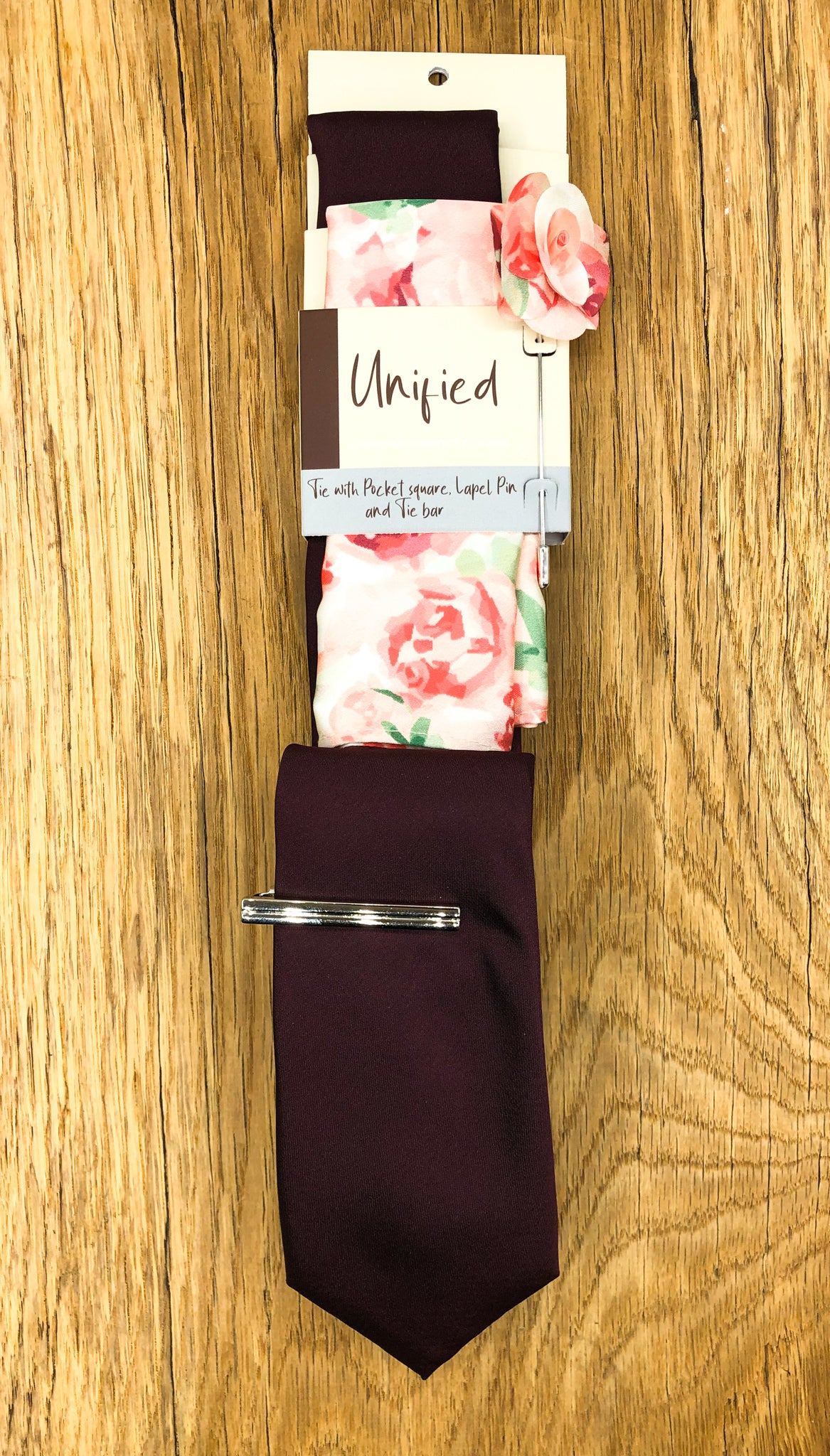 Don Burgundy Tie and Pink Floral Square in fabric bag
