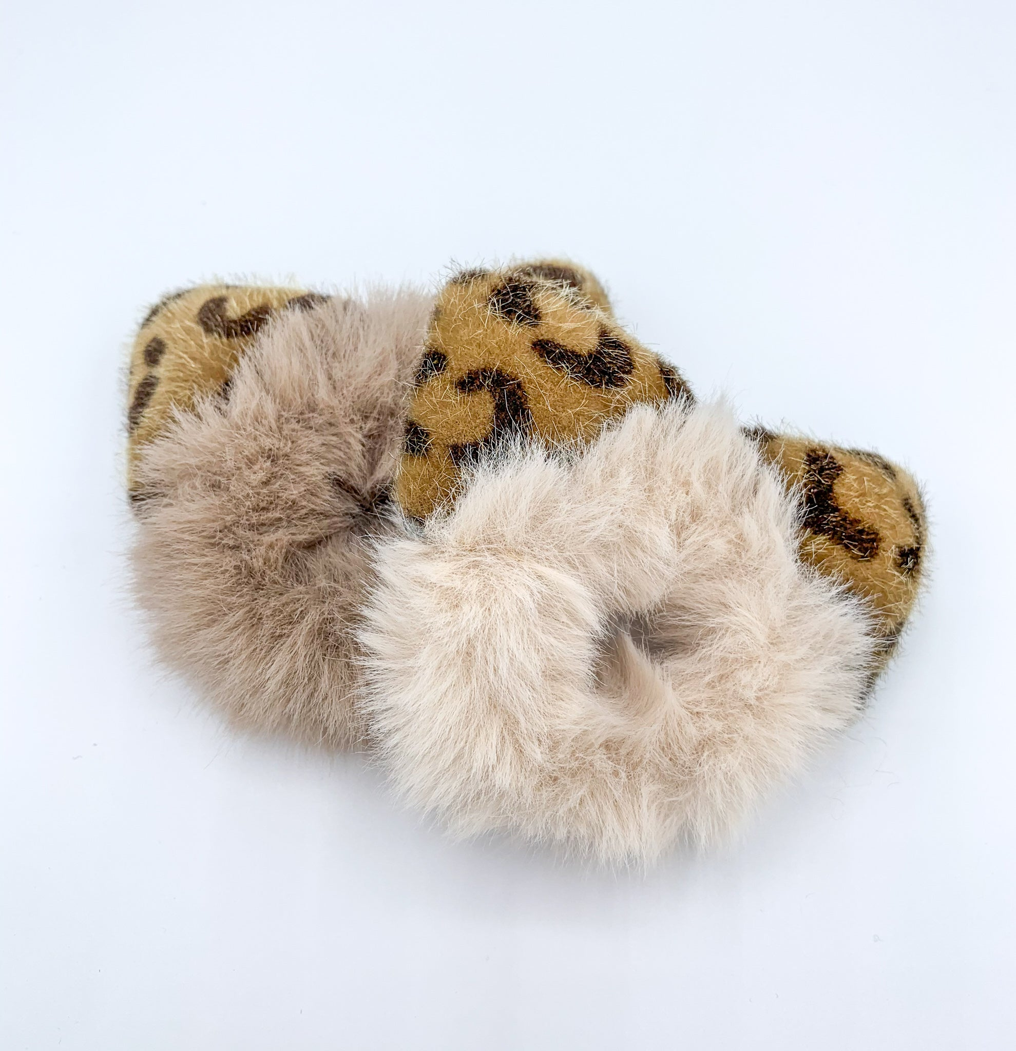 Cute Animal Ear Furry Scrunchie - Cream