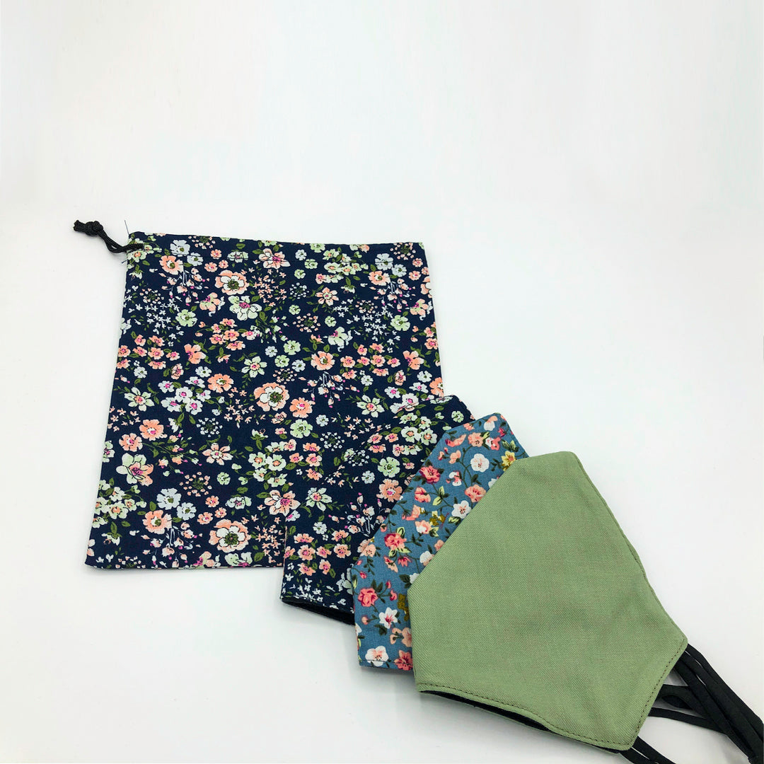 Floral face vovering set with khaki face mask