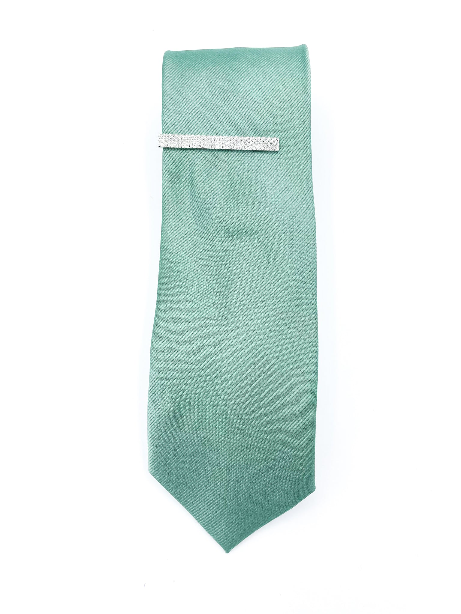 Mint tie with Floral Pocket Square, Lapel Pin, Tie Bar and Fabric Bag