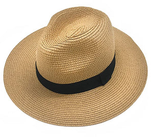 Sun Hat - Tan with Grey Ribbon