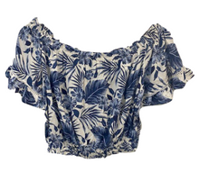 Load image into Gallery viewer, Tia Top - Blue Tropical Print
