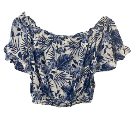 Tia Top - Blue Tropical Print