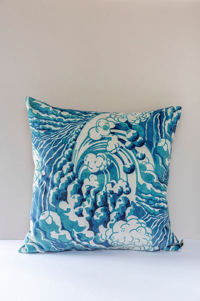The Wave Cushion in Mineral Blue 50 x 50cm