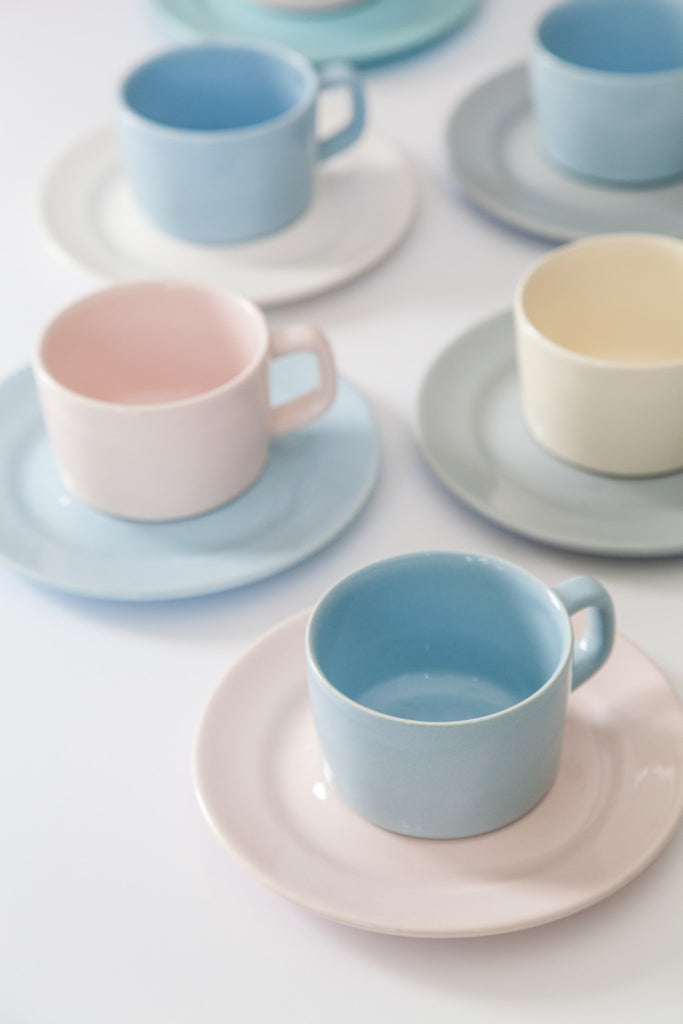 Two Tone Cups and Saucers