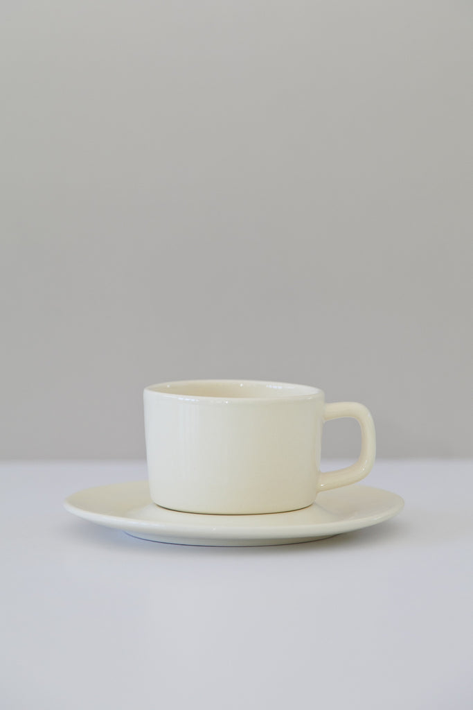monochrome cup and saucer