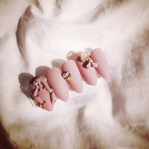 HANDMADE PINK 3D RIBBON PRESS-ON NAILS