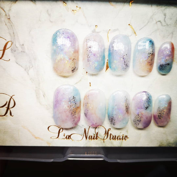 HANDMADE DUSK SKY INSPIRED PRESS-ON NAIL SET