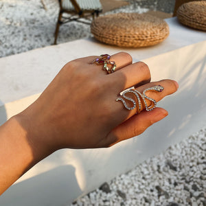 Snake + Jewel Ring Set