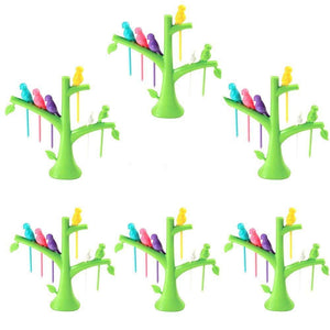 Your Brand Fancy Bird Table Fork with Stand for Eating Fruits - Pack of 6