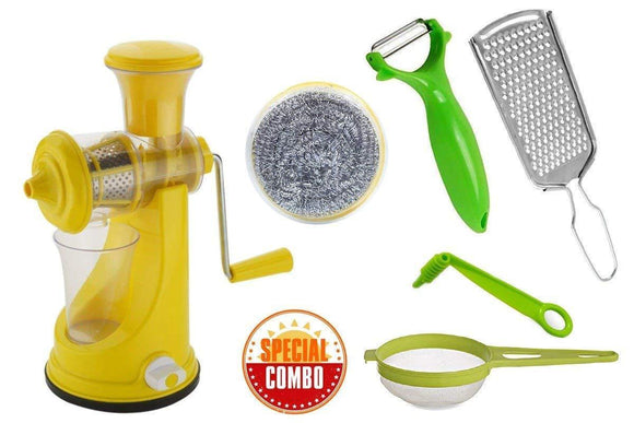 Your Brand Mix Combo - Manual Fruit Juicer, Vegetables Grater, Vegetable/Fruit Peeler, Vegetables Spiral Cutter/Spiral Knife, Big Tea Strainer Sieve, Kitchen Scrubber (6pcs)