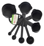 106 Plastic Measuring Cups and Spoons (8 Pcs, Black) (With Box)