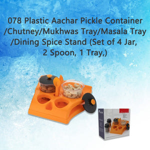 078 Plastic Aachar Pickle Container/Chutney/Mukhwas Tray/Masala Tray/Dining Spice Stand (Set of 4 Jar, 2 Spoon, 1 Tray,)