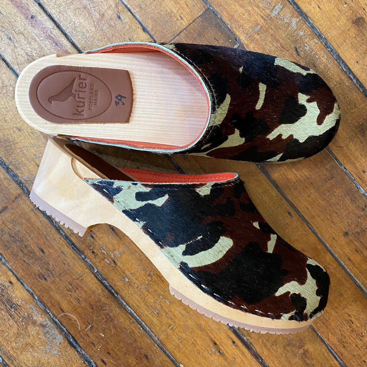 "Hair on ""camo"" clogs"