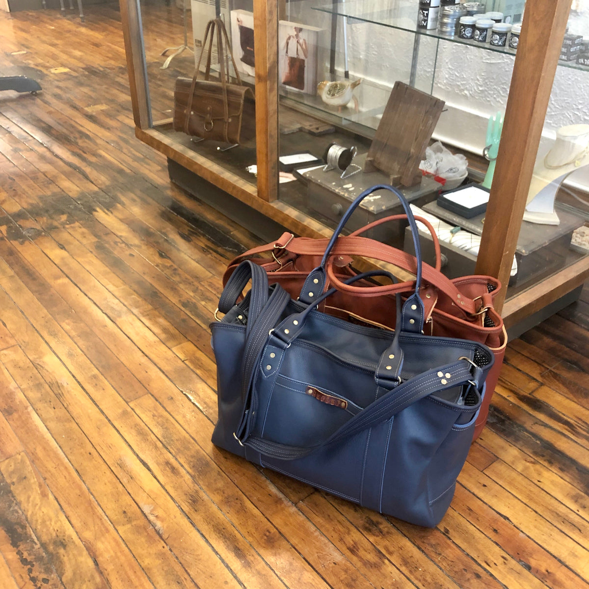 All leather Weekender Tote