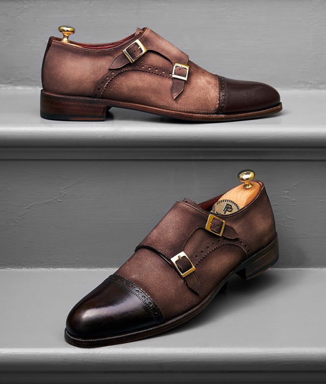 Paul Parkman Suede and Leather Double Monkstrap Shoes