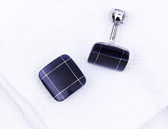 Black Enamel with Silver Grid Cuff Links