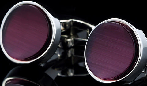 Purple Enamel with Silver Casing Cuff Links