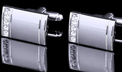 Classis Silver Cuff Links Studded with Rhinestones
