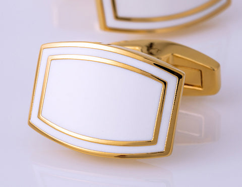 White Enamel with Gold Accents Cuff Links