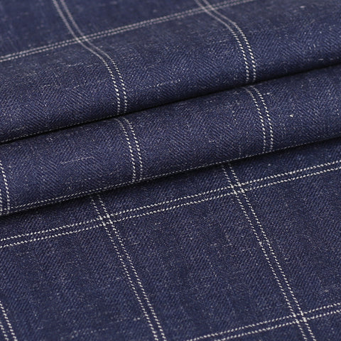Blue Windowpane - 55% Wool / 15% Linen / 30% Silk