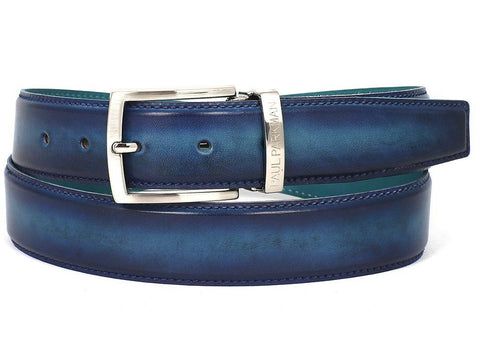 Paul Parkman Leather Belt Hand-Painted Blue and Turquoise