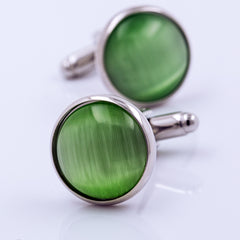 Green Cat-Eyes Cuff Links