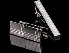 Charcoal Cuff Links and Tie Bar Set