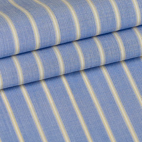Blue w/ Yellow Stripes Custom Shirt Fabric, 100% Cotton