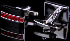 Swarovski Red Crystal and Onyx Cuff Links